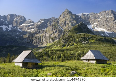 Two mountain huts.