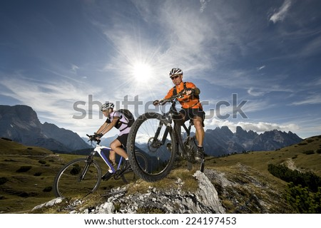 two mountainbikers in Action - mountain bike