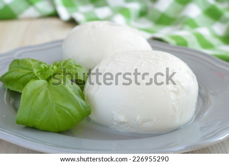 Two mozzarella balls and basil on a plate - stock photo