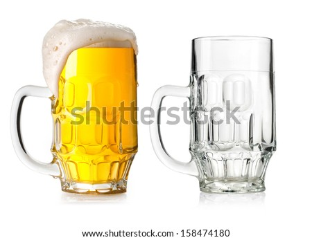 Two Mugs beer with cap of foam and Empty isolated on white background - stock photo