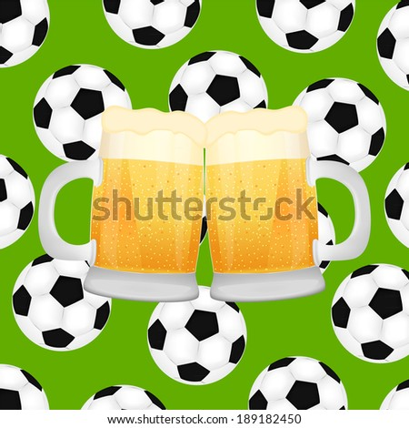 two mugs of beer on background of soccer balls - stock photo