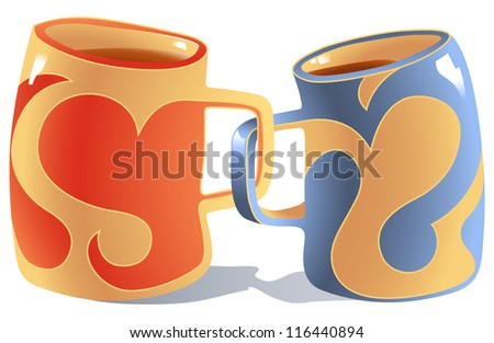 Two Mugs Symbolizing Two People in Love - stock photo