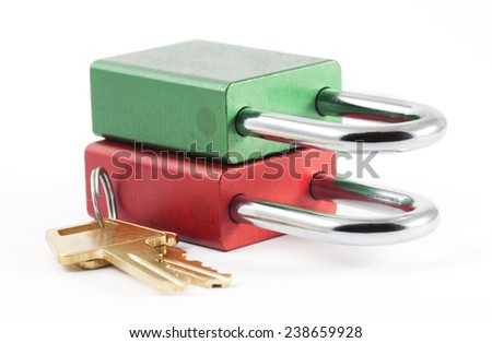 Two multi-colored padlocks
