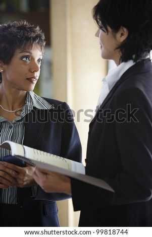 Two multi-ethnic businesswomen talking - stock photo
