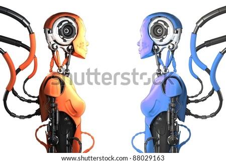 Two multicolored artistic cyborg woman in profile - stock photo