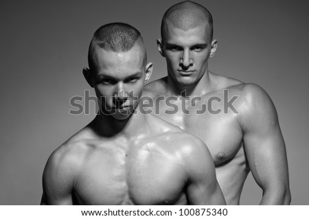 Two muscled gay man - stock photo