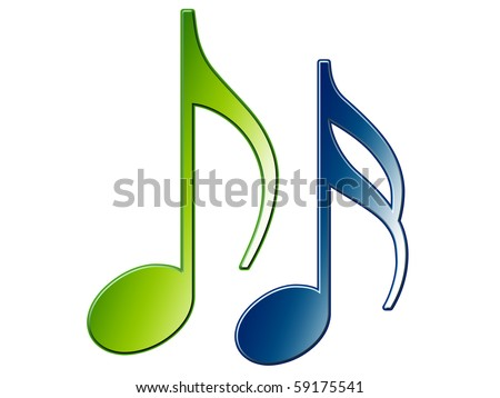Two Music Notes - stock photo