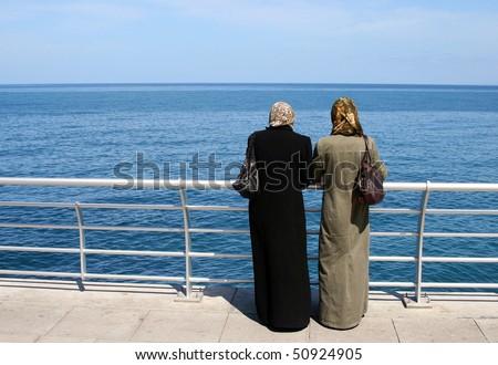 two muslim women in Beirut, Lebanon - stock photo