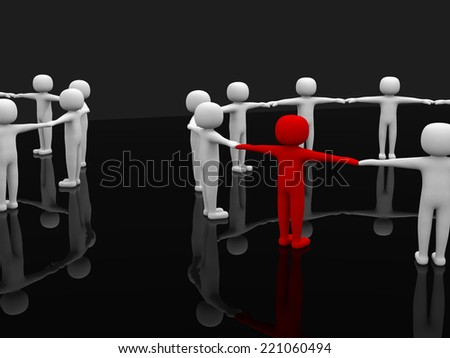 Two mystical circle - symbolizes two working collectives. figures holding hands together in a circle. One figure is marked red - stock photo