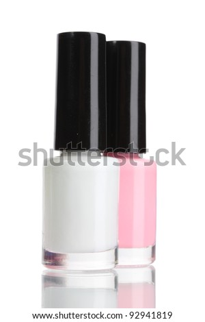 Two nail polish isolated on white - stock photo