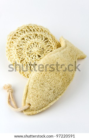 Two natural sponges on a white background