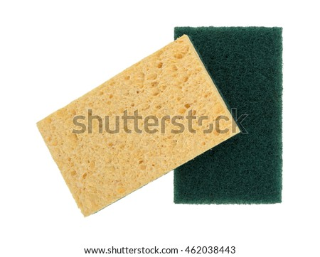 Two new cellulose sponges with one having a scouring pad isolated on a white background.
