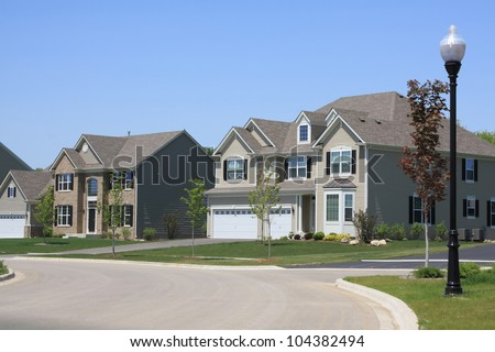 Typical american suburban house suburban street - Suburban Street Stock Photos Images Amp Pictures