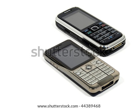 Two new mobile phone based on the parallel isolation on a white background