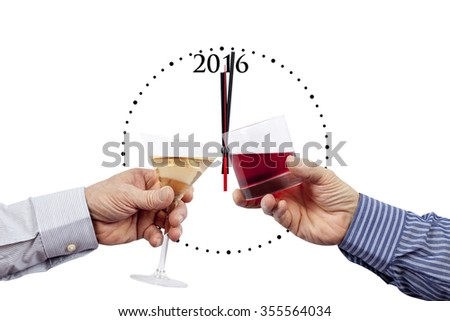 Two new year glasses being raised in front of a 2016 clock past midnight on a pure white background