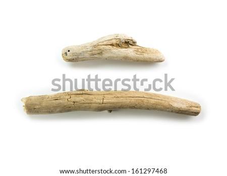 Two nice shaped driftwood, isolated on white.  - stock photo