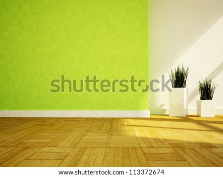 two nice vases with the grass in the shiny room - stock photo