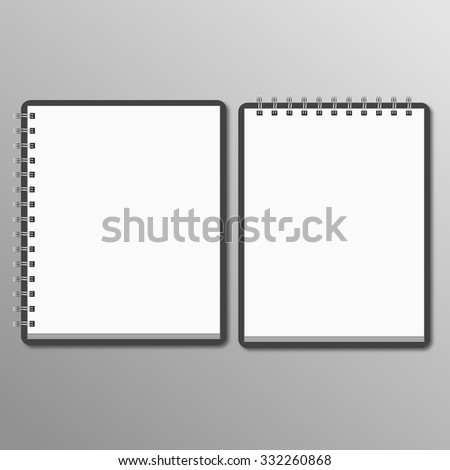 Two notebook. horizontal and vertical - stock photo
