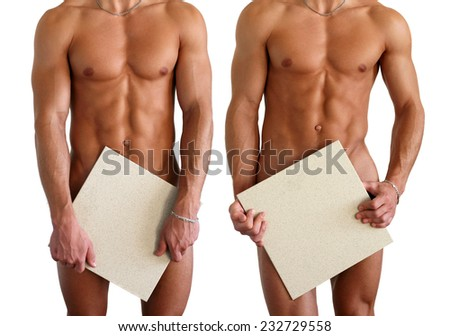 Two nude muscular men covering with copy space blank signs isolated on white  - stock photo