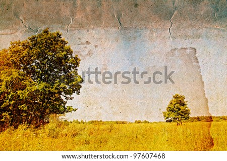 two oaks on grunge background - stock photo