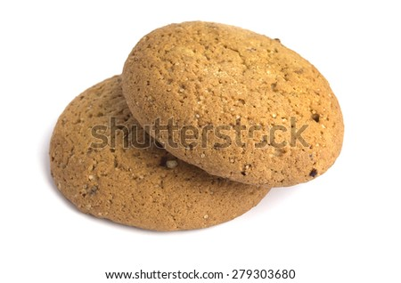 two oatmeal cookies on white background