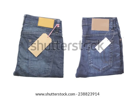 two of blue jeans with tag label. - stock photo