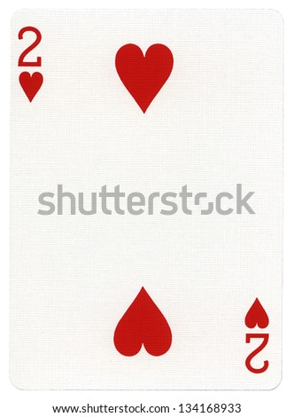 Two of hearts playing card, isolated on white background.