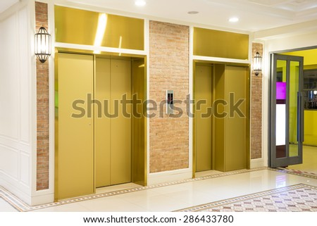 Two of luxury elevator in modern building.