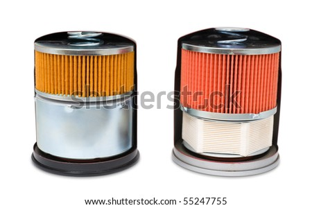 two oil filters for car engine, in section, demo samples