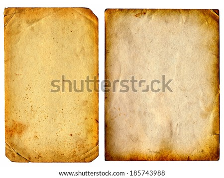 Two Old and Vintage Papers Pages Isolated on the White