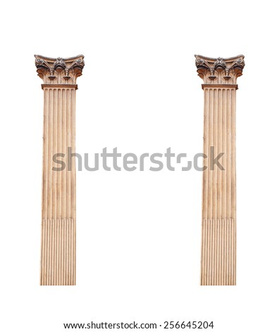 two old architectural columns isolated on white background. - stock photo
