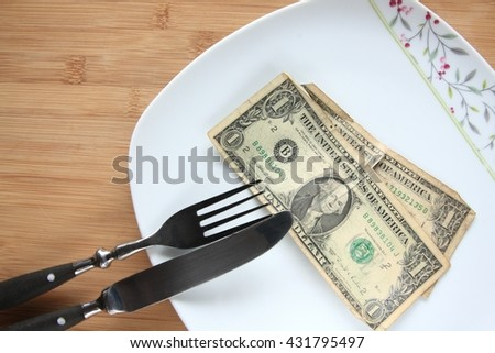 Two old dollar banknotes on a plate