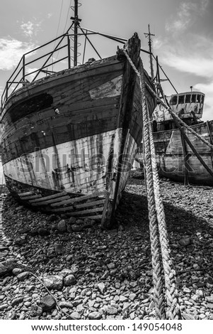 two old fishing boats - stock photo
