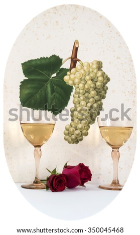 two old glasses of white wine background grape cluster decorated, romantic moment with flowers rose, photos with vignetting, natural light, vertical photo, - stock photo