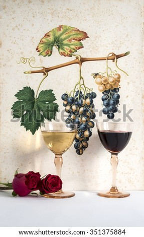two old glasses red and white wine background grape cluster decorated, romantic moment with flowers rose, natural light, vertical photo - stock photo