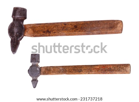 Two old hammer isolated on white background - stock photo