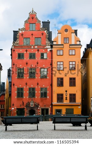 Two old houses in the old market square in Stockholm. Sweden - stock photo