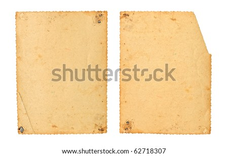 Two old photos with a decorative border. Reverse side - stock photo