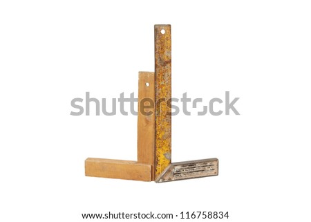 two Old rulers with angle bar, set square, isolated on a white background with clipping path - stock photo
