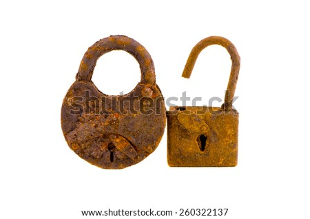 two old rusted lock isolated on white background. Scrap-iron