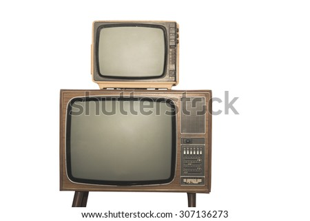 Two old television isolated on white background