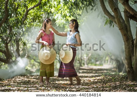 Two old Thai style girl - stock photo