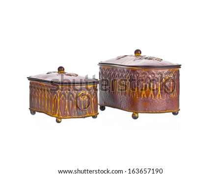 Two old wooden coffers, isolated. Copy space - stock photo