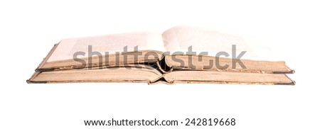 Two open ancient books on a white background