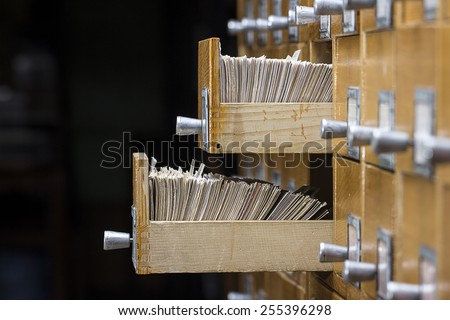 Two open box in the archive library - stock photo