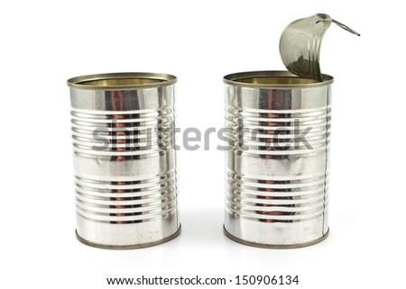 Two open empty tin can isolated on white - stock photo