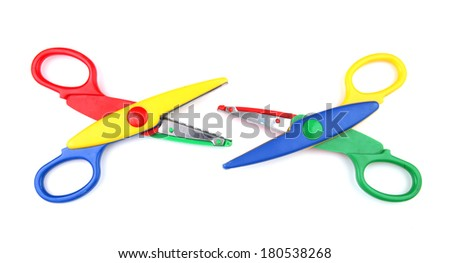 Two open kid's scissors isolated on white - stock photo