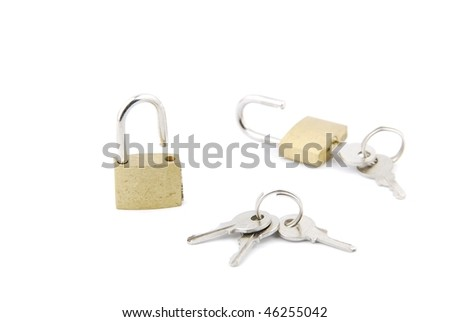 two open padlock with keys isolated on white background