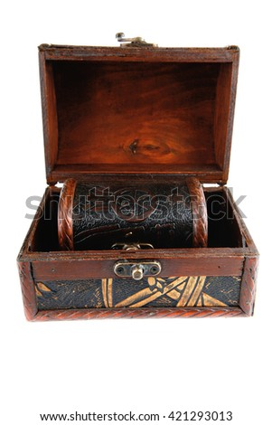 two open wooden chests with metal ornament