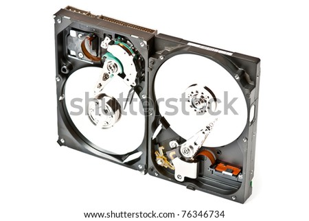 Two opened hard drive isolated on white background